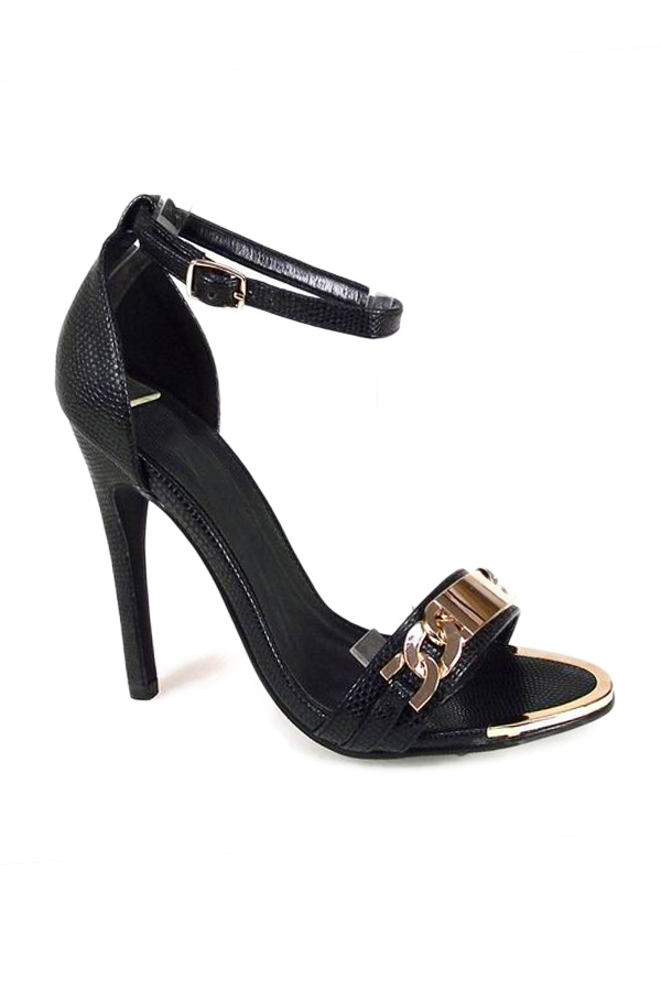 Black and Gold Strappy Party Sandals