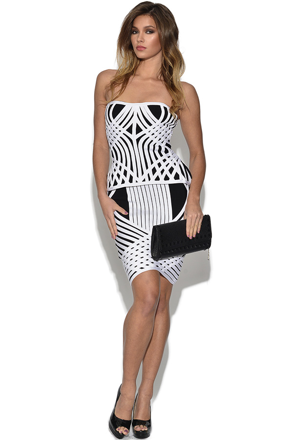 Monochrome Peplum Top And Skirt Set