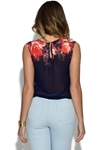 Little Mistress Navy Blurred Floral Chiffon Top