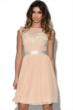 072d9c4be237 Lace Bust Nude Prom Dress