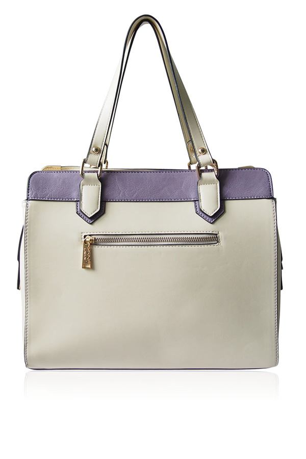 Alicia Cream and Purple Shoulder Bag
