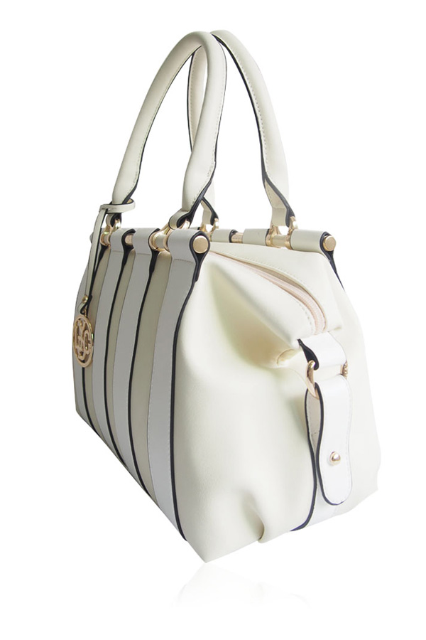 Athena Cream and White Tote Bag