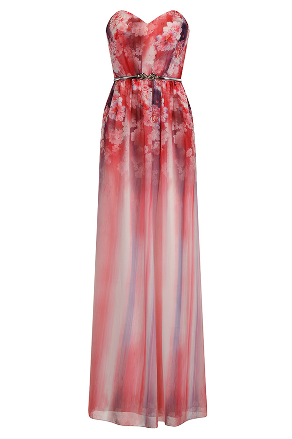 Little Mistress Pink Floral Bandeau Maxi Dress