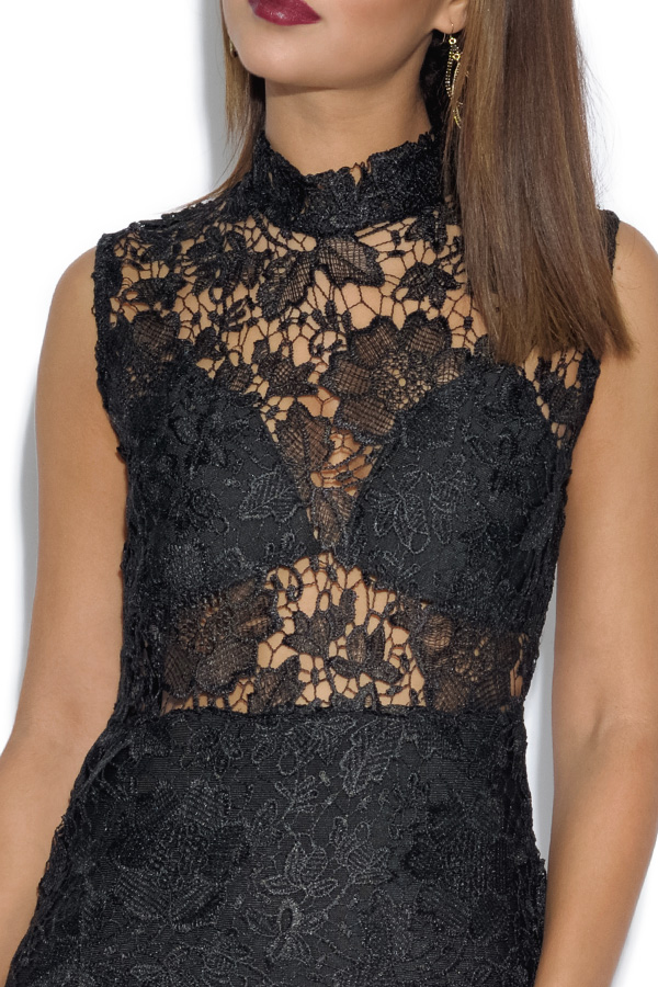 Luxe Black Lace Overlay Dress