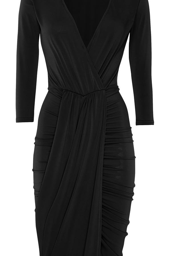2df3c767570 Plunge Front Drape Midi Dress