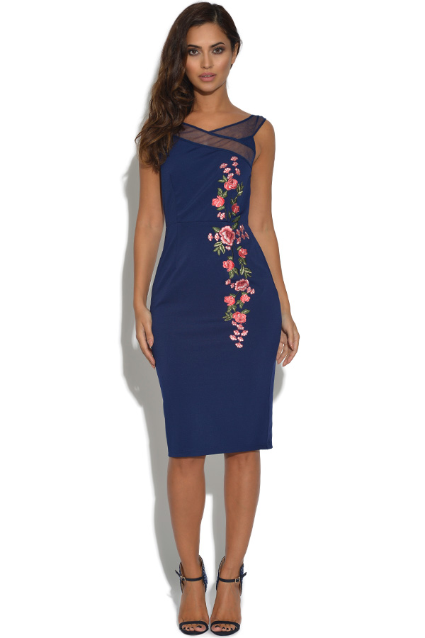 8deffb14a9f0 Little Mistress Navy Floral Embroidered Bardot Dress
