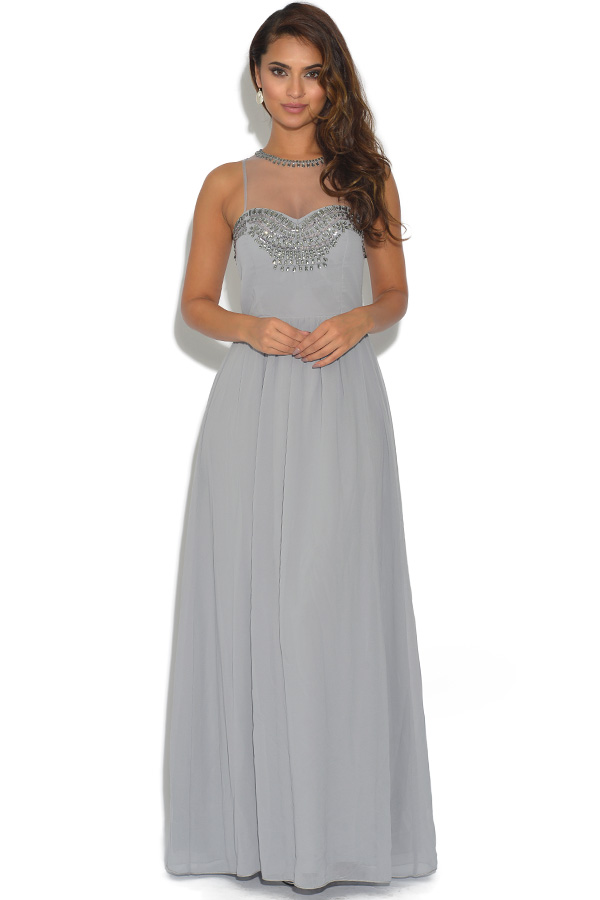 Little Mistress Embellished Mesh Grey Maxi Dress