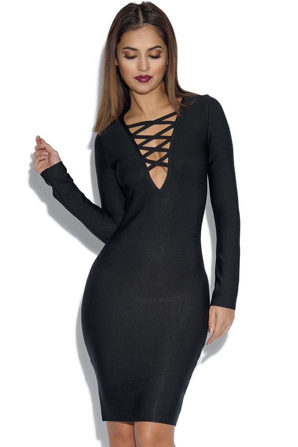 Long Sleeved Lace Neck Black Bandage Dress
