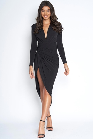 f831ea2cdc Plunge Neck Structured Dress