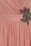 Little Mistress Peach Embellished Prom Dress