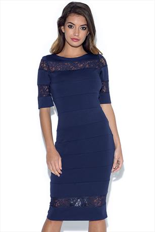 34585aff6c21 Paper Dolls Navy Lace Insert Dress