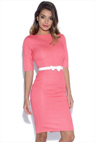 bcac1e29dd8c Paper Dolls Coral Waffle Bodycon Dress with Bow Waist