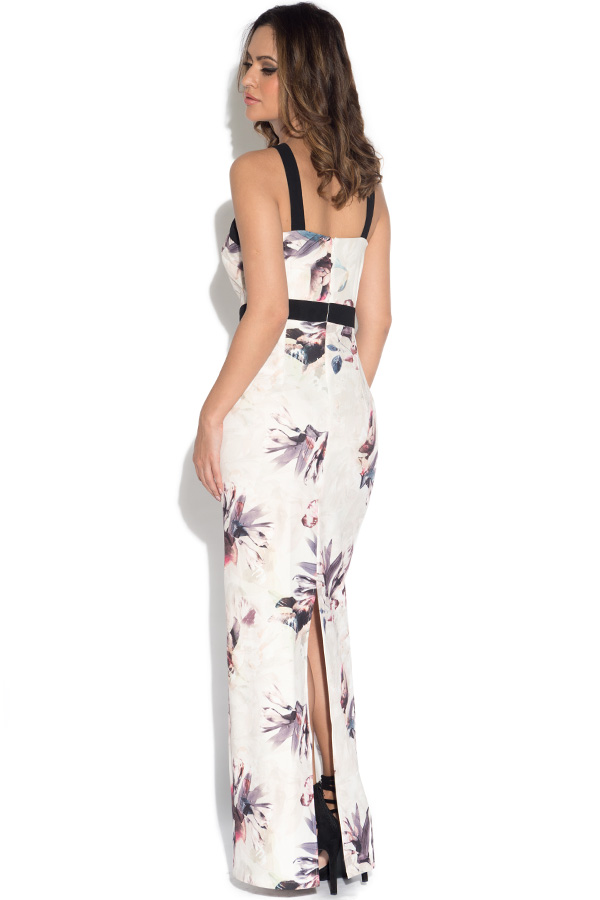 Little Mistress Floral Print Cross Strap Maxi Dress