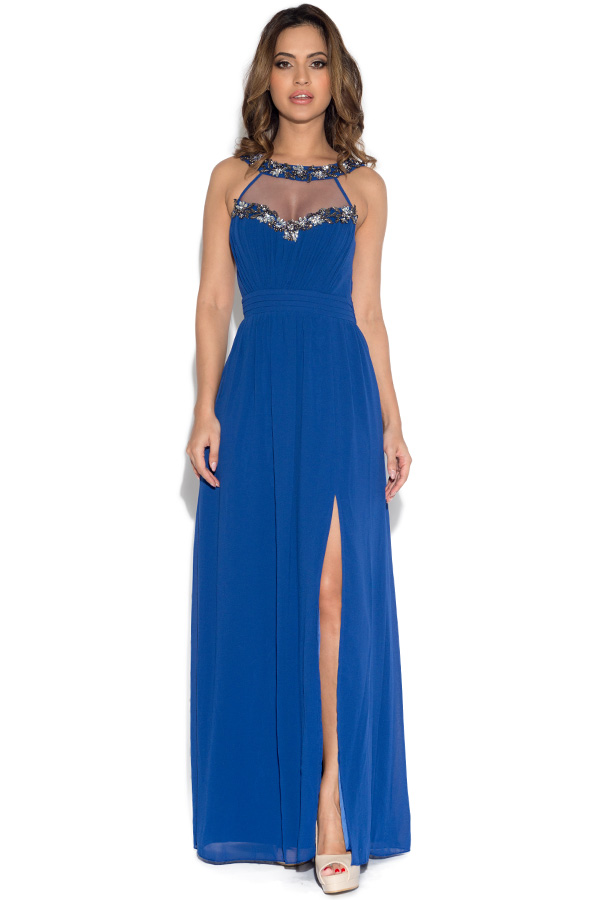 1b57e07e02 Little Mistress Cobalt Embellished Trim Maxi Dress