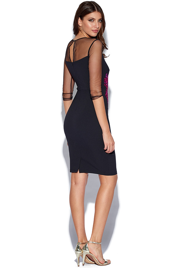 Little Mistress Embroidered Waist Bodycon Dress