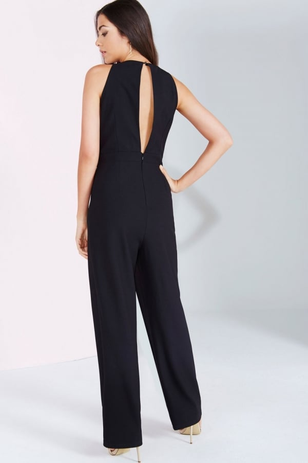 Black Embroidered Sequin Jumpsuit