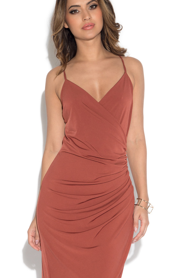 bf7e627b155 V Neck Slinky Wrap Maxi Dress