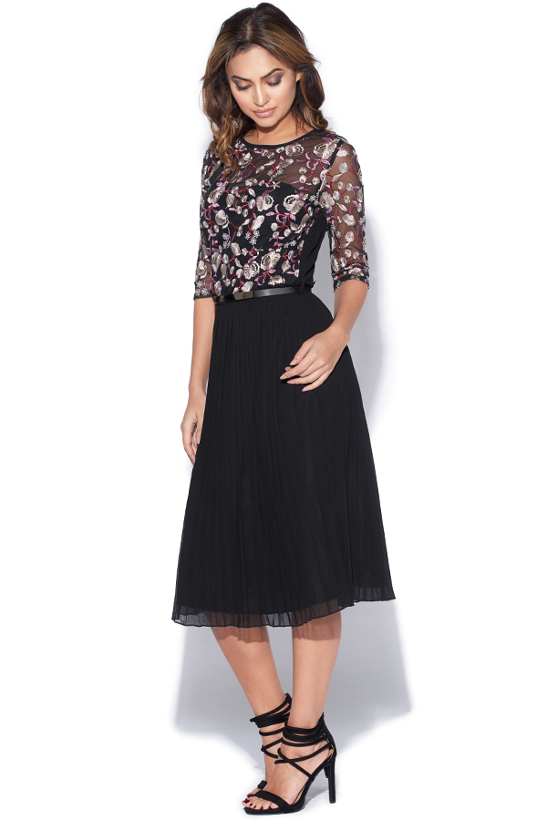 Floral Embroidered Midi Dress With Pleats