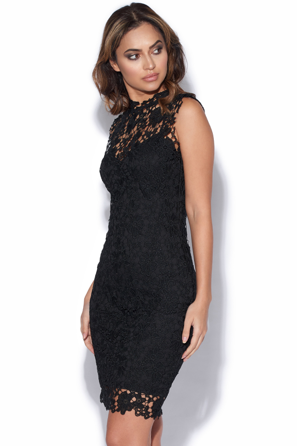 8b4ddd56ec6d Lace Overlay Collar Dress
