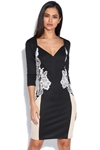Long Sleeve Plunge Neck Lace Side Dress