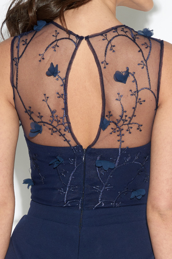 4f5429c05ca4 Navy Blue Floral Embroidered Jumpsuit