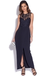 Navy Crochet Lace Top Maxi Dress