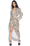 Leopard Print Plunge Neck Structured Dress