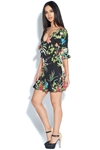 Tropical Print Tie Front Mini Dress