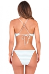Turquoise Stripe Lace Up Bralet Bikini Set