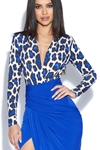 Leopard Top Print Plunge Dress