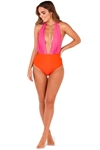 Two Tone Deep Plunge Swimsuit