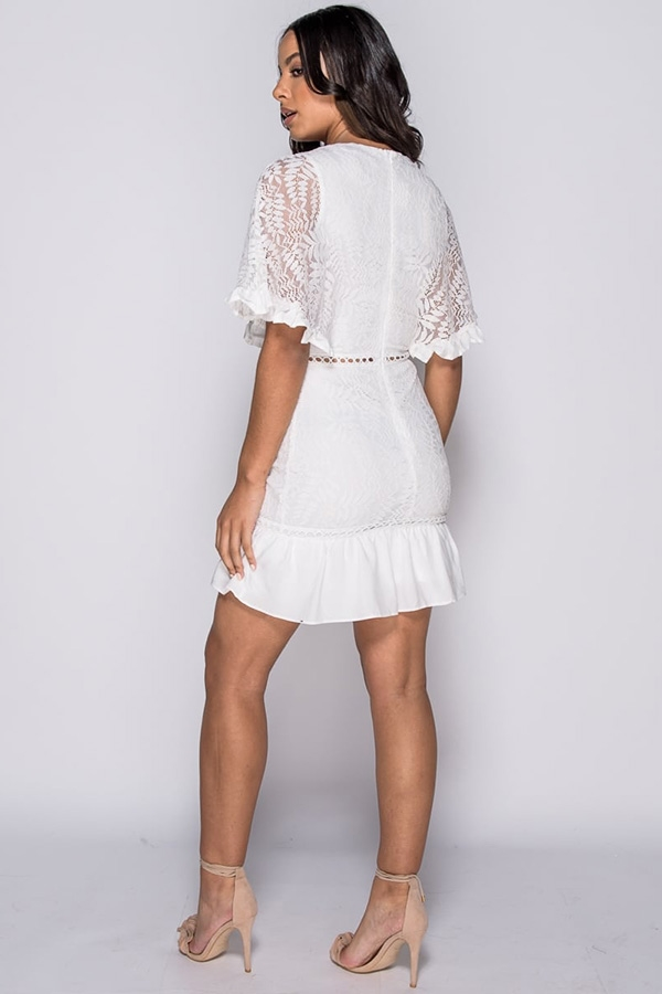 Lace Trim Frill Hem Mini Dress