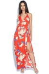 Floral Print Thigh Split Maxi Dress