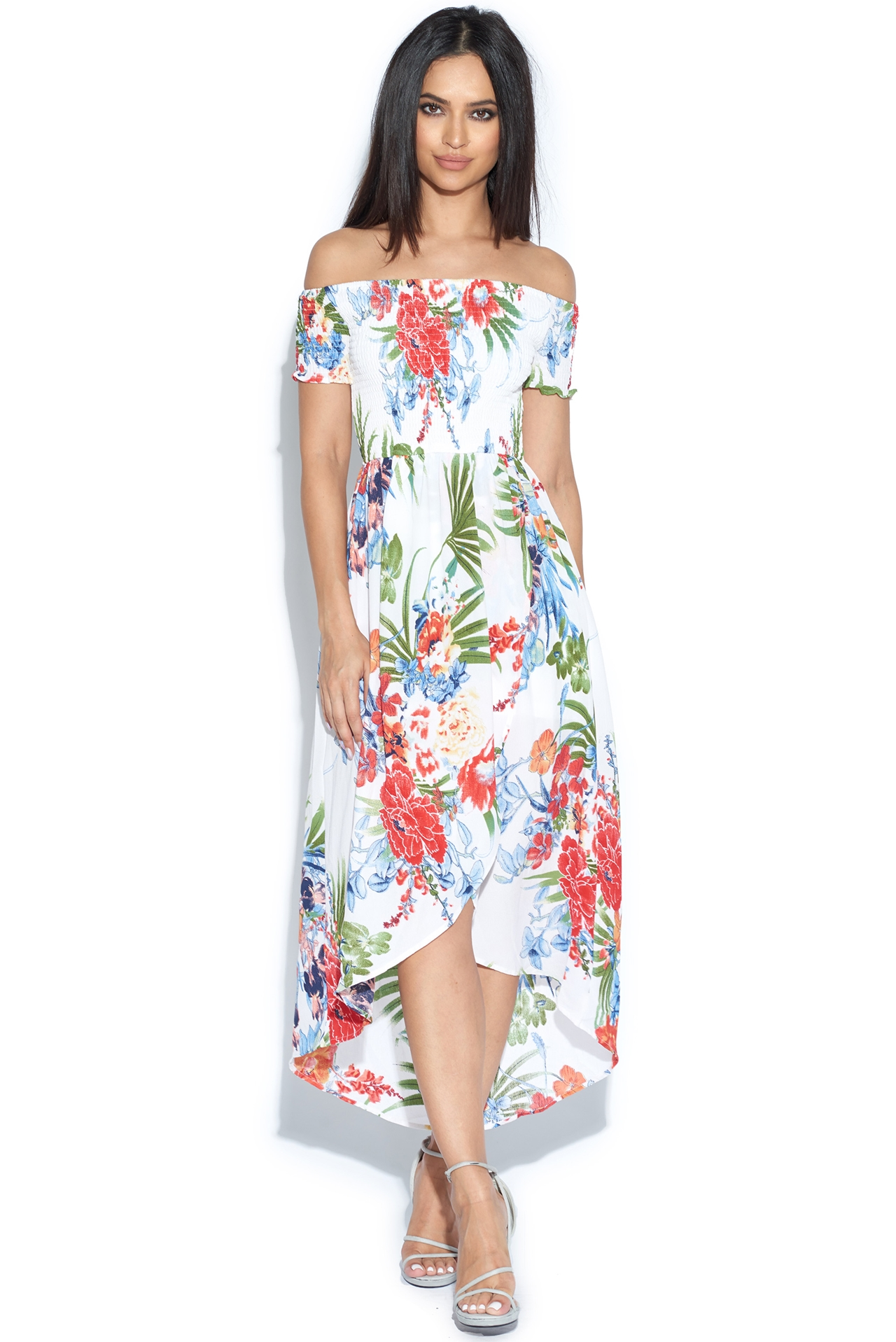 a356665e7b7 Tropical Print Dipped Hem Bardot Dress