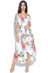 Tropical Print Dipped Hem Bardot Dress