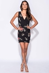 Plunge V Neck Floral Bodycon Dress