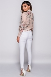 Nude Floral Blouse With Frill Shoulder Detailing
