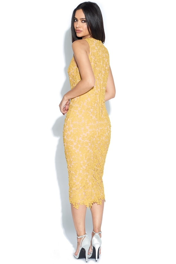 Mustard Lace Pencil Dress