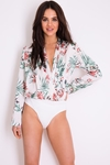 Long Sleeved Floral Print Bodysuit
