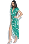 Cap Sleeve Green Floral Print Plunge Dress