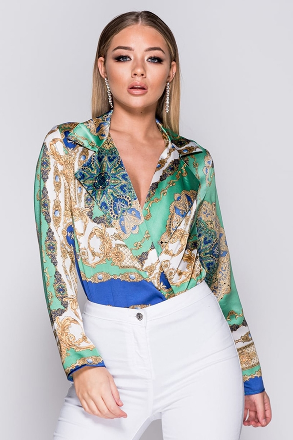 Green Abstract Print Bodysuit