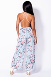 Light Blue Floral Print Plunge Halterneck Jumpsuit