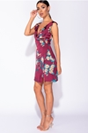 Floral Frill Trim Wrapover Mini Dress