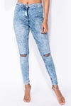 Acid Wash Slit Knee Jeggings