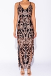 Baroque Sequin Thigh Split Sheer Maxi Dress