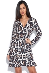 Leopard Print Frill Detail Wrap Over Mini Dress