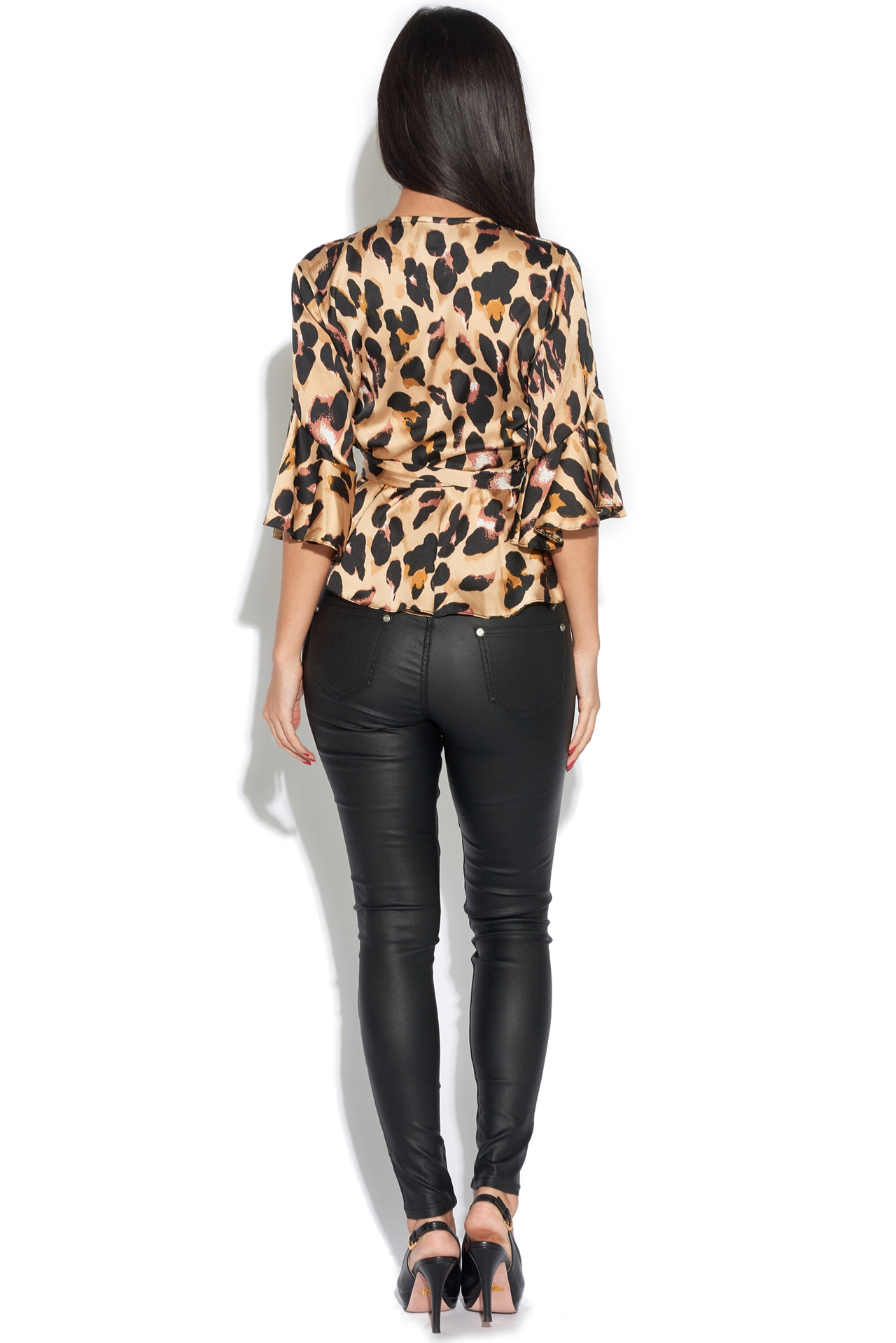 27c76ad3d56d6 Leopard Print Peplum Wrap Over Top