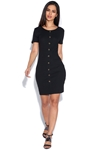 Button Detail Short Sleeved Bodycon Dress