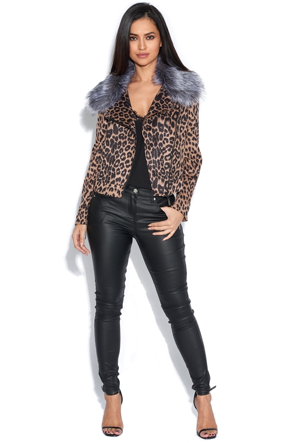 Leopard Jacket with Detachable Faux Fur Collar