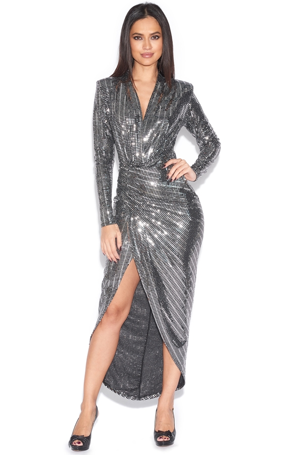 Luxe Sequin Plunge Dress